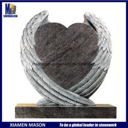Heißer Entwurf Bahama Wings blauer Granit-Engel Inner-Skulptur-Grundstein