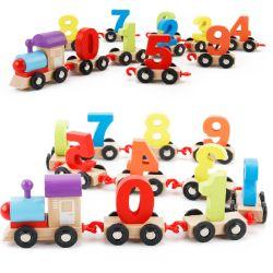كلاسيكيّة خشبيّة أطفال لعبة أرقام ألوان يعلم قافلة تموين لأنّ الماشي بخطى متثاقلة