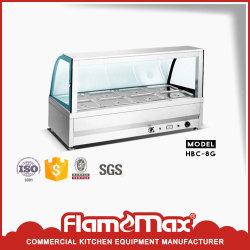 Acier inoxydable 8 pan de la nourriture chaude l'écran (verre incurvé) (HBS-8C)