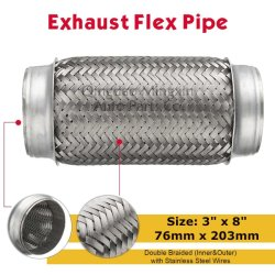 """Tubo flexible de escape doble trenzado con alambres de acero inoxidable de 3""""x8"""" 76x203mm"""