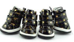 أحذية PU الذهبية السوداء للحيوانات الأليفة