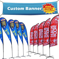 Outdoor Beach Business Advertising Vinyl Canvas Wind Waterproof Feather Lightweight Durable Double Sided Flag Popup Display Stand Swooper Teardrop Flying Banner