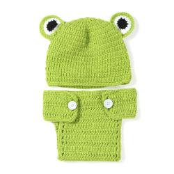 Pasgeboren Fotografie Props Baby Hat Crochet Baby Green Frog Kostuum Caps Gebreide Fotografie Foto Props Accessoires