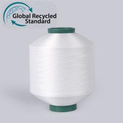 Il calzino di prezzi di fabbrica ricicla il filato riciclato del filamento della bottiglia dell'animale domestico del poliestere strutturato DTY 75D con il certificato di Grs per lavorare a maglia