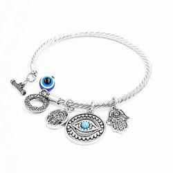 Acenar com mulheres mal o olho e o encanto do lado da HAMSA bracelete trançado13419 ESG