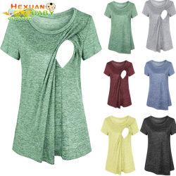 2020 nuovo vestiti di maternità d'allattamento al seno di professione d'infermiera della maglietta delle parti superiori barrati manicotto domestico di Short di arrivo