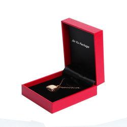 Carré rouge pendentif Bijoux Cadeaux Emballages en plastique avec logo Feuille d'or