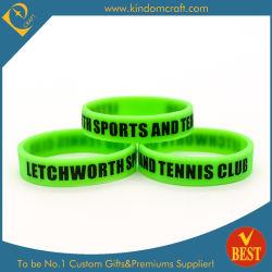 Mayorista de alta calidad brillan en la oscuridad de verde fluorescente pulsera de silicona caucho de tenis