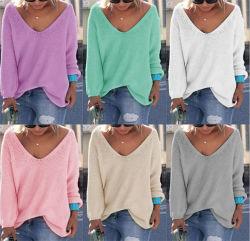 숙녀 v 목 뜨개질을 하는 스웨터 스웨터 반대로 Pilling/다채로운 크로셰 뜨개질