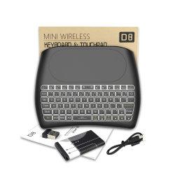 Luft-Mäuseberührungsfläche der Hintergrundbeleuchtung-Tastatur-D8 super englisch-russische drahtlose Minider tastatur-2.4G für androiden Fernsehapparat-Kasten