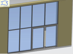 Parete di vetro di stanza frontale di negozio di alluminio con il portello e la finestra di entrata