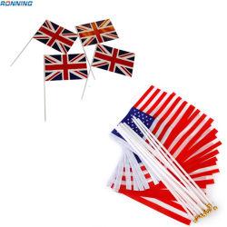 De Sporten van de Ventilators van de Polyester van de douane Alle Landen die Golvende Hand schudden - gehouden Vlag