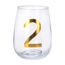 Vidro de alta qualidade do vinho Stemless 12oz 15oz 20oz Cup com números Gold Logotipo de bloqueio