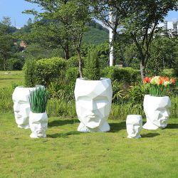 H108 섬유유리 남자 마스크 모양 화분 옥외 현대 화병 판매를 위한 장식적인 큰 시골풍 플랜트 화병