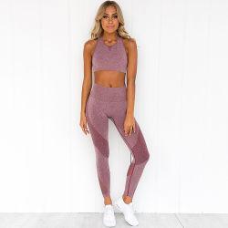 La mujer perfecta conjunto Yoga Fitness Sport Gym Trajes Camisas Yoga tela cintura alta con polainas pantalones de entrenamiento
