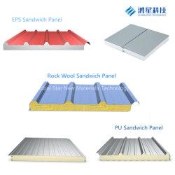 Material de construcción incombustible ambiental EPS/PU/lana de roca y lana de vidrio/panel sandwich de fibra de vidrio de la pared y techo con SGS
