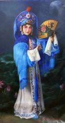 캔버스에서 손으로 만든 중국식 그림 아크릴 유화