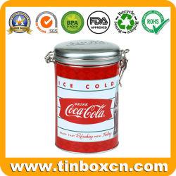 Grabado hermético tin box con clip metálico para bebidas