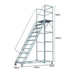 Os pedais Multi-Use ampla 2500mm escada dobrável Industrial de Aço de oficina com Rodas