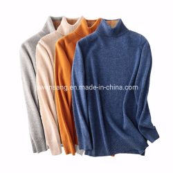 100% 메리노 양모 모직 여자 긴 소매 각종 색깔 자라목 스웨터 롤 목 스웨터