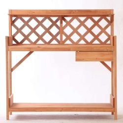 Jardín de madera de exterior mesa de trabajo para las macetas planta