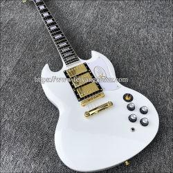 2020 Mejor Guitarra, blanco SG guitarra eléctrica, Cuerpo de caoba maciza con pintura blanca, el oro de Hardware,