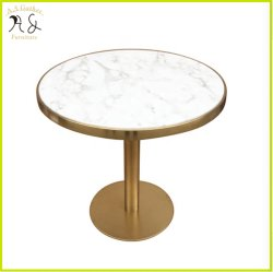 Coffee Shop Ins Metal Dourado elegante base de mesa pequena mesa redonda em mármore