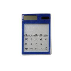 Mini Slim Card calculadora de bolsillo de la Energía Solar de la pantalla LCD de 8 dígitos de la tarjeta de crédito Calculadora transparente electrónica