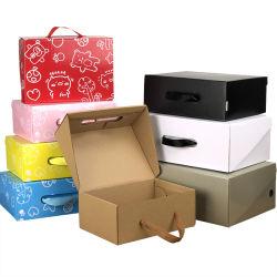 Doos Van uitstekende kwaliteit van het Vervoer van het Karton van het Karton van de Schoen van de Carrier van de Druk van de Douane van de fabrikant de Goedkope Draagbare Verschepende Verpakkende met Handvat