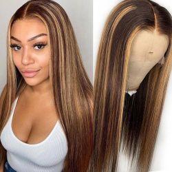 الجملة 4 / 27# تسليط الضوء على لاس الجبهة الشعر البشري الصين رخيصة شعر ريمي الكامل لاس الشعر الطبيعي البرازيلي الشعر Wigs
