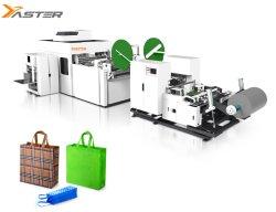 Automatische PP-Gewebe nicht gewebte Box Bag Maker Formmaschine mit Griff Online / Loop Griff Box Tasche Herstellung Maschine