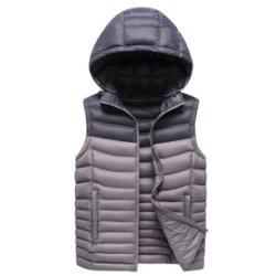 Hombre de última moda invierno chaleco acolchado abajo con capucha desmontable
