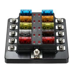 Lame 10 contacts Boîte à fusibles avec indicateur LED le bloc de fusibles pour Voiture Bateau caravane Marine 12V 24V