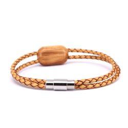Madeira de oliveira achados bracelete de couro para amigo