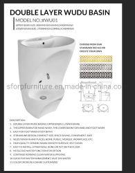 Lavabo di ceramica degli articoli della stanza da bagno di doppio strato del doppio dispersore di colore di modo del sensore funzionale bianco moderno sanitario di arte