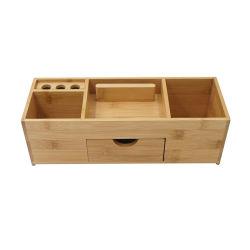 Organizador de secretária bambu caixa de armazenamento de secretária com suporte de suporte para telefone Para materiais de escritório e acessórios como Estação de trabalho de escritório