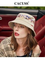 Ricamo dorato del cappello della benna della stampa del cinese del cappello di Sun e protezione esterna elegante del cappello del cappello della protezione della stampa