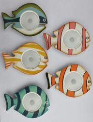 목제 작은 물고기 LED 밤 빛 벽 램프