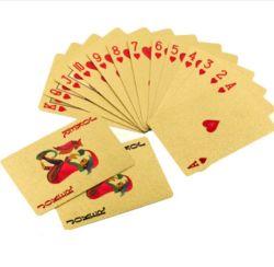 Resistente al agua personalizada de la fábrica de papel/plástico PVC Casino Poker Naipes de Poker de lámina de oro