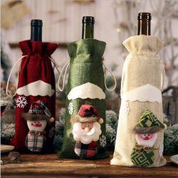 2021 新しいクリスマスの家の装飾項目クリスマスのワインのびんのセット 赤ワインシャンパンボトルバッグテーブルドレッシング