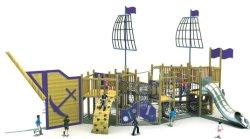 Деревянная игровая площадка для деревянных пиратских судов игровая площадка с ударным и Net альпинист (HF-5401)