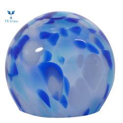 Cor azul insuflado lado tampas de vidro para iluminação