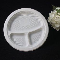 """10"""" 3 compartimentos biodegradable Dinner Set Vajilla Alimentos Embalaje maíz Plato redondo de almidón"""
