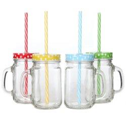 Стеклянный кувшин блендера Мейсона кружка с ручками, Polka Dot крышки и соответствующие многоразовую пластмассовую трубочки