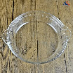 Piatto della frutta piastre di vetro di a microonde di 8 pollici con i piatti decorativi delle orecchie