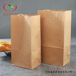 パンおよびサンドイッチ包装のためのWindowsのパン屋袋が付いている食品等級の平底のブラウンクラフト紙