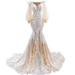 Mermaid مساء اللباس كأس شامبانيا Lace Tulle العروس الزفاف اللباس E13917