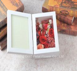 حارّ خداع هبة جديد [أونفدينغ] يحفظ زهرة أحمر [روس] هبة أبيض صورة إطار لأنّ عرس زخرفة