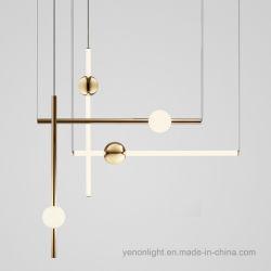 Linha geométrica LED Luz Pendente lustre em vidro metal nórdico
