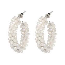 As mulheres Jóias Brinco Bohemian Crystal coloridos exagerada de acessórios Pearl Cordão queda de prata brincos de arcos